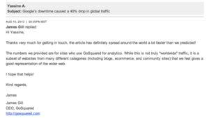 Message par e-mail de James Gill, CEO de GoSquared