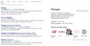 Knowledge Graph de Primark, distributeur irlandais de vêtements.