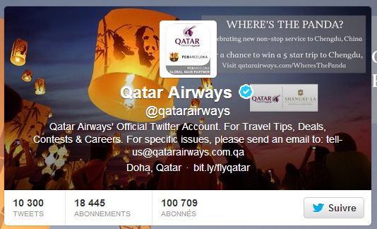 Twitter de Qatar Airways