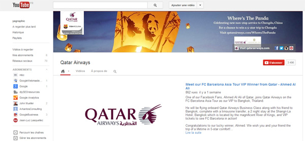 Page YouTube de Qatar Airways