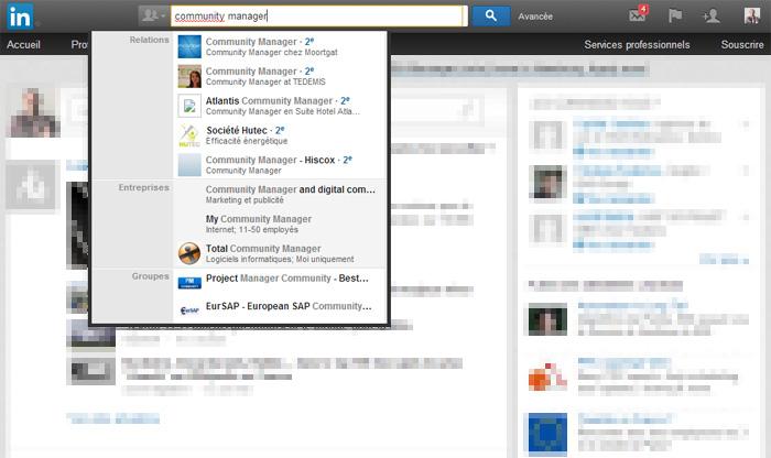 Fonctionnalité d'autocomplétion dans LinkedIn France