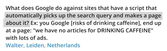 Matt Cutts : soyez libres, signalez les contenus générés automatiquement