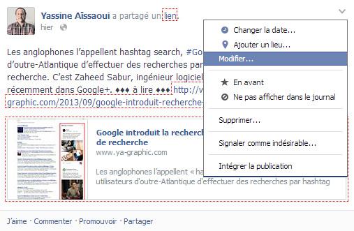 Modifier un statut Facebook