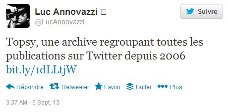 Topsy annoncé comme une archive de Twitter