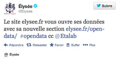 Tweet de l'Elysée qui annonce l'ouverture des données au public.