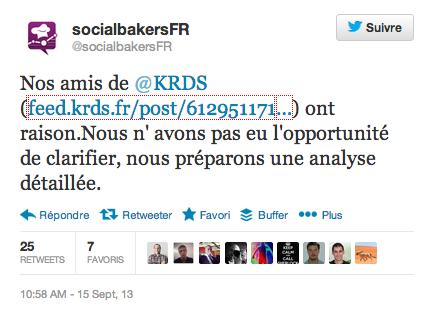 Tweet de Socialbakers France à propos d'un article du blog KRDS FEED