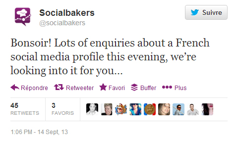 Tweet de Socialbakers