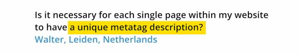 Matt Cutts : créer des balises META description uniques pour chaque page web