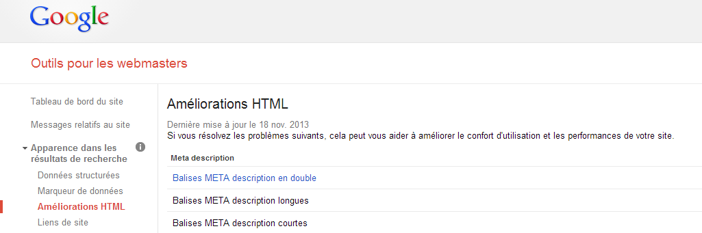 Balises META description en double - Google webmaster tools