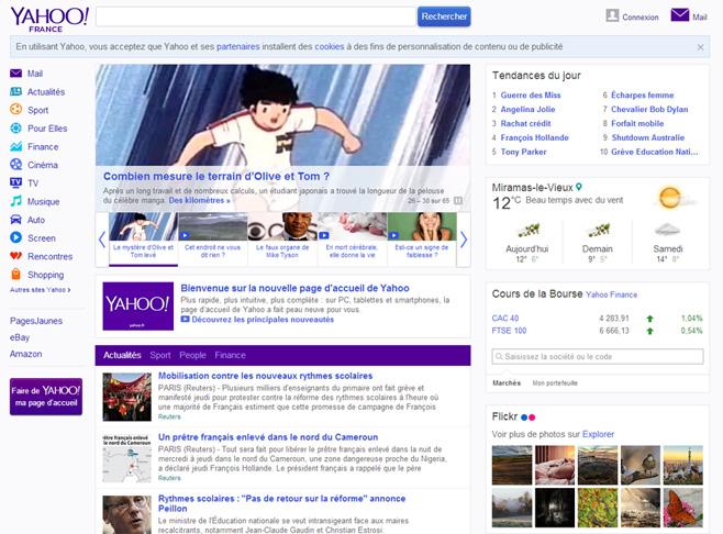Ferez-vous de Yahoo! votre page d'accueil ?