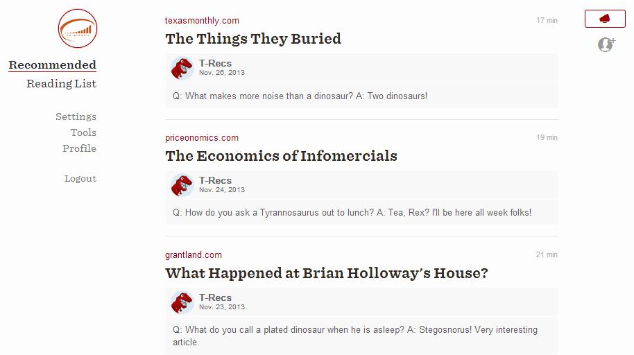 Recommandations d'articles dans Readability