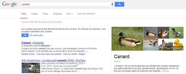 """Résultats de recherche de Google """"canard"""""""