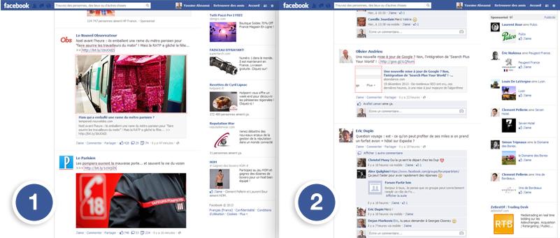 Articles de presse dans le fil d'actualité Facebook