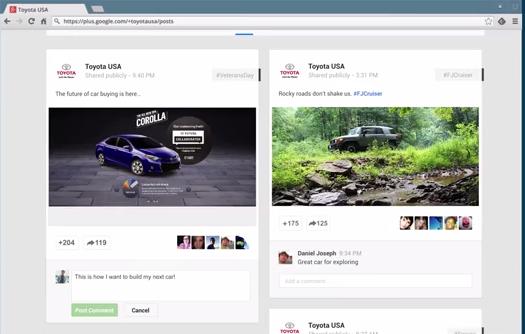 Publication Google+ de Toyota