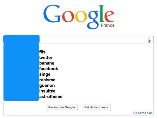 Suggestions Google d'une personnalité politique.