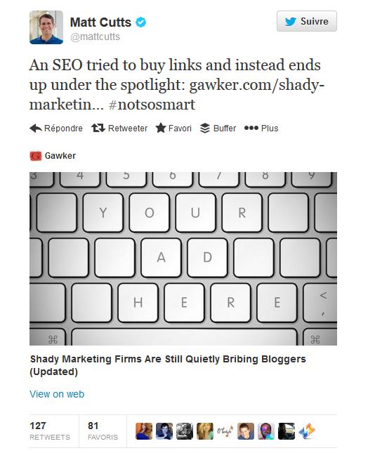 Le tweet de Matt Cutts à propos de l'agence SEO