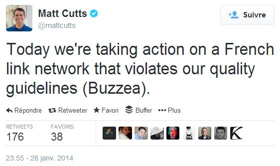 La plateforme d'articles sponsorisés Buzzea (réseau de liens français) visée par Matt Cutts dans Twitter.
