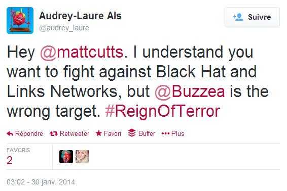 Question posée à Matt Cutts dans Twitter