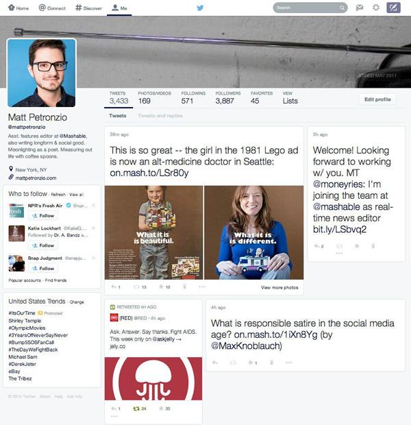Nouveau design de Twitter (comme Facebook)