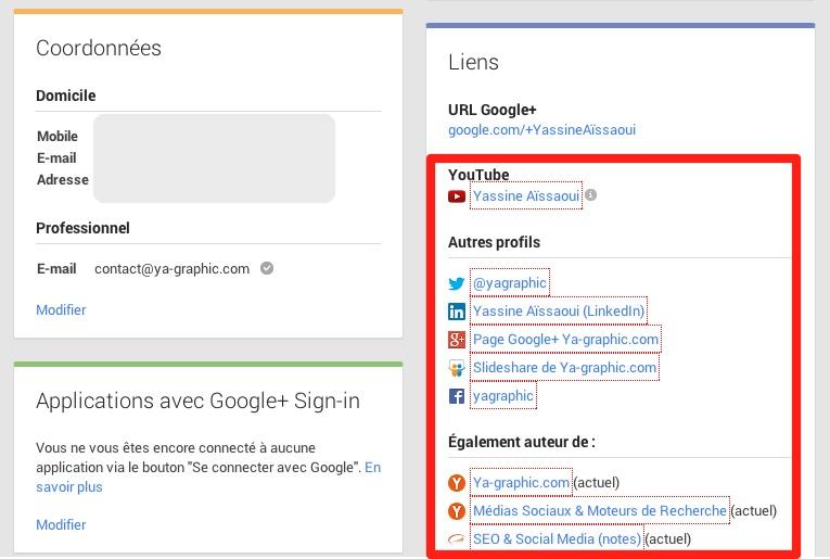 Liens en nofollow de la page Bio de Google+