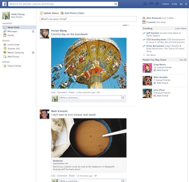 Ancienne version du fil d'actualités de Facebook