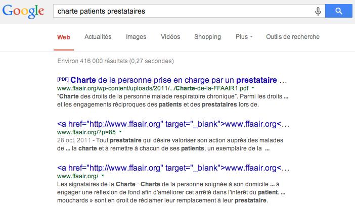 Bug dans les résultats de recherche de Google