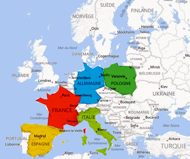 carte europe france italie