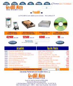 Design du site Grosbill.com en l'an 2000