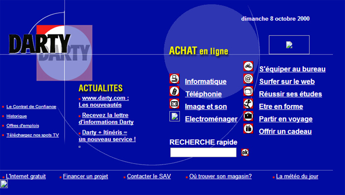 La page d'accueil du site Darty.com en l'an 2000