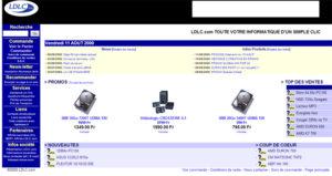 Design du site Ldlc.com en 2000
