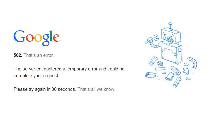 Erreur 502 Google Drive