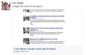 Eric Dupin dans Facebook au sujet de Google Actualités