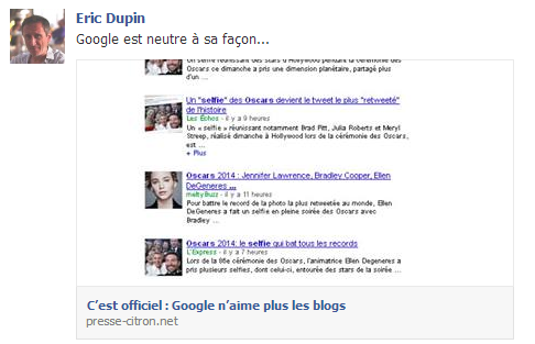 Google n'aime plus les blogs ?