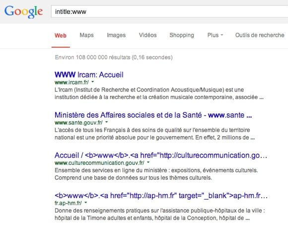Intitle:www dans Google