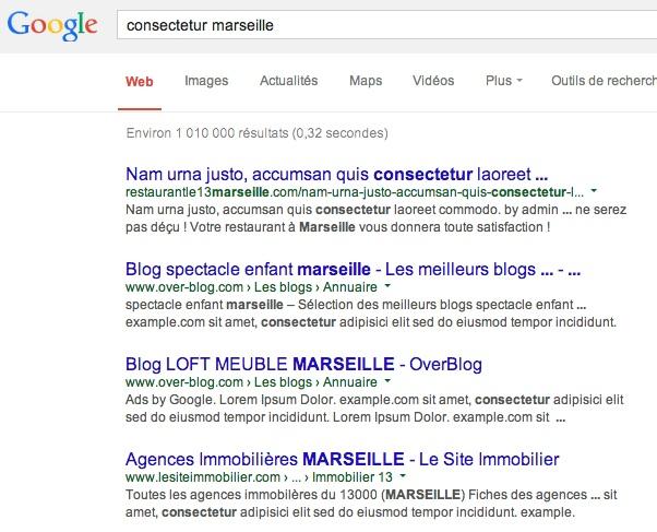 Du Lorem Ipsum dans les résultats de recherche de Google.fr