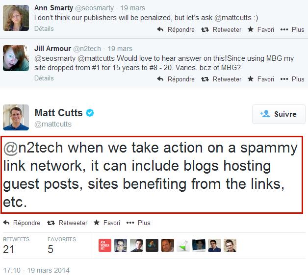 Réponse de Matt Cutts à Ann Smarty