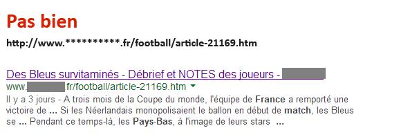 URL (1) dans les résultats de recherche de Google.fr