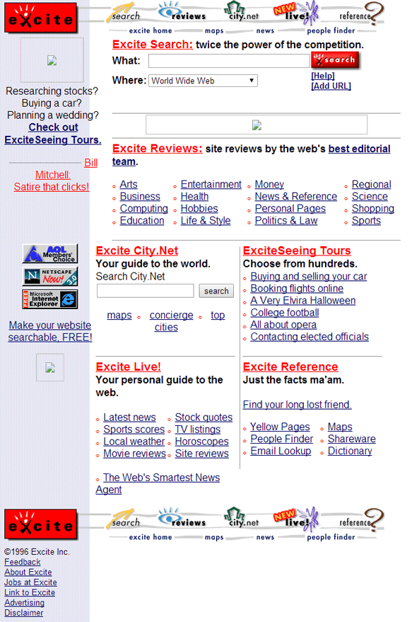 Excite.com année 1996