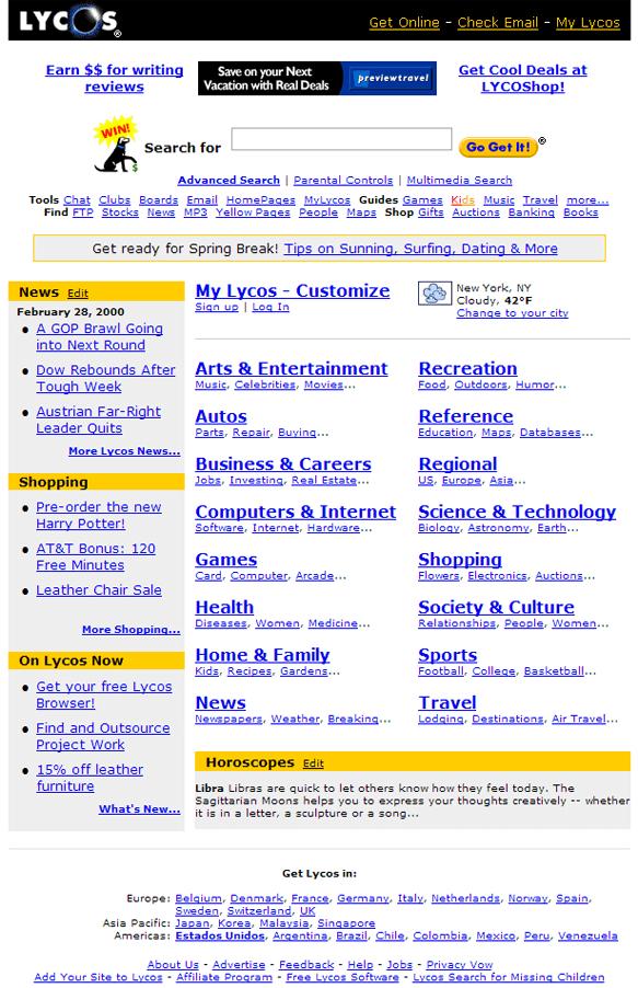 Lycos fin années 90