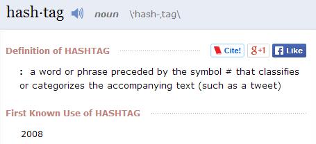 Définition du mot hashtag (en anglais)