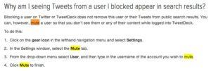 Support Twitter au sujet de la fonctionnalité Mute de TweetDeck
