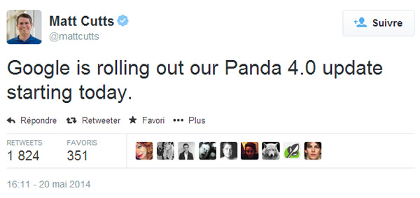 Matt Cutts annonce le lancement du filtre Panda version 4.0