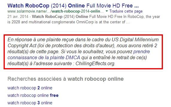 DMCA Recherche Google