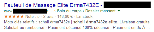 Pages de résultats Google (rich snippets de site e-commerce)