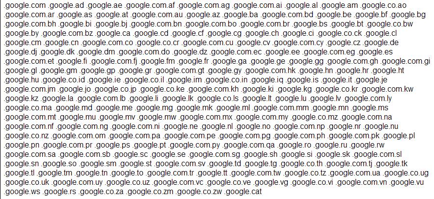 Droit à l'oubli : Les domaines de Google (moteur de recherche)