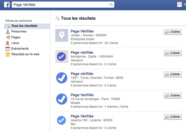 Page Verifiee : recherche Facebook