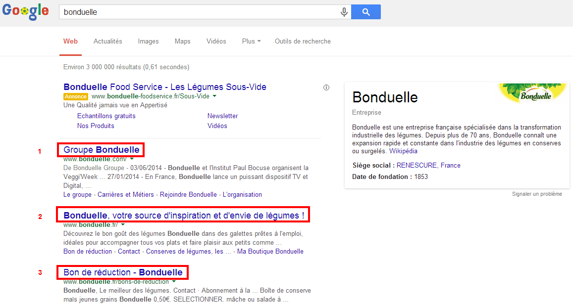 Recherche Google : marque Bonduelle