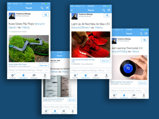 "Bouton ""Buy now"" dans Twitter (mobile)"