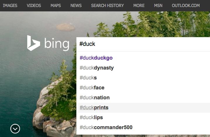 Recherche de tweets dans Bing