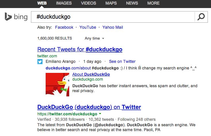 Compte Twitter et tweets dans les résultats de recherche de Bing